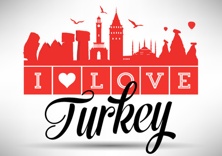 turkey istanbul: I Love Turkey Skyline Design Illustration