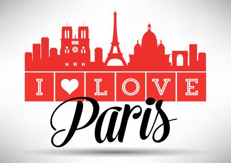 i love paris: I Love Paris Skyline Design Illustration