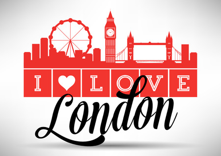 skyline city: I Love London Skyline Design Illustration