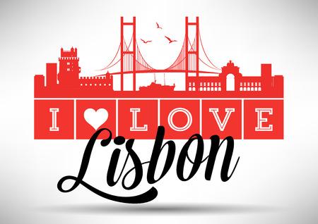 I Love Lisbon Skyline Design Vector
