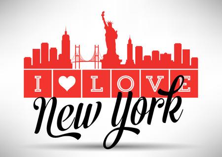 new york skyline: I Love New York Skyline Design