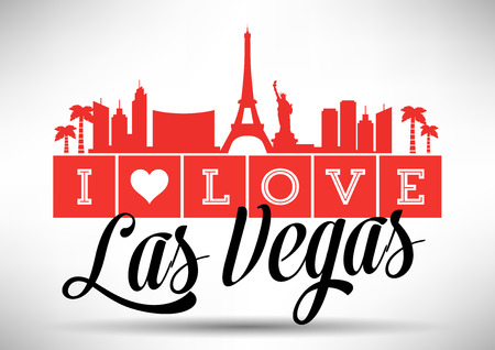 I Love Las Vegas Skyline Design Vector