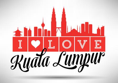 I Love Kuala Lumpur Skyline Design Ilustração