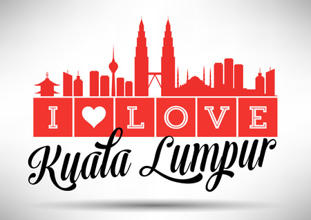 I Love Kuala Lumpur Skyline Design Illustration