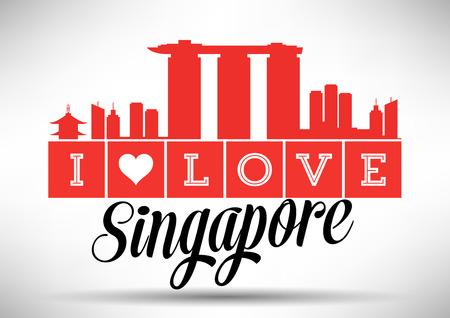 I Love Singapore Skyline Design Illusztráció
