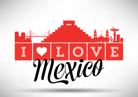 I Love Mexico Skyline Design Illustration