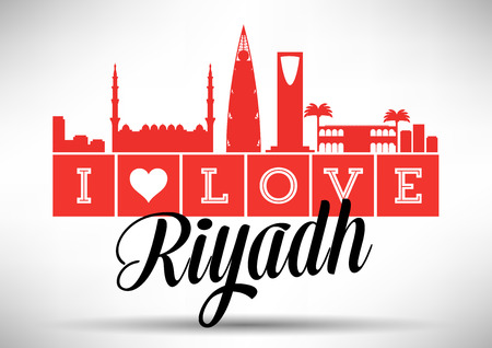 I Love Riyadh Skyline Design