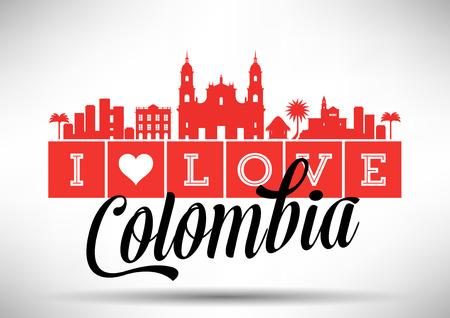 I Love Colombia Skyline Design