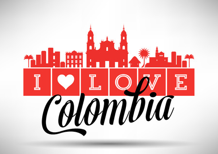I Love Colombia Skyline Design