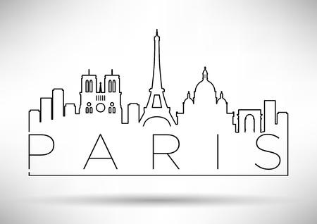 パリのスカイライン モダン ・ タイポグラフィ  イラスト・ベクター素材