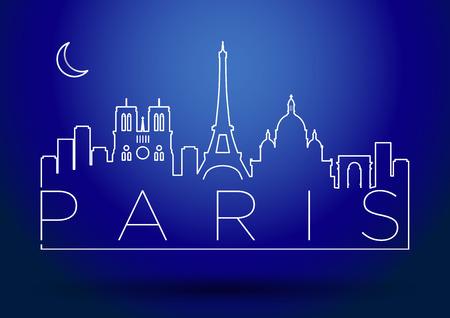 paris skyline: Paris Skyline Modern Typography