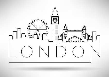 London City Skyline with Typographic Design Çizim
