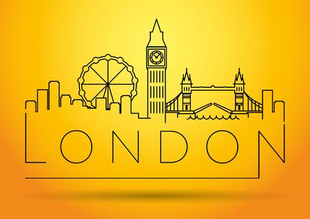 London City Skyline with Typographic Design Vector