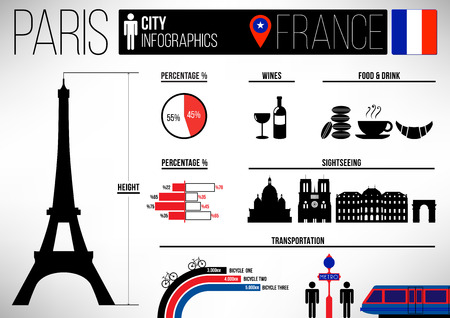 Paris City Infographic Design Template Vector