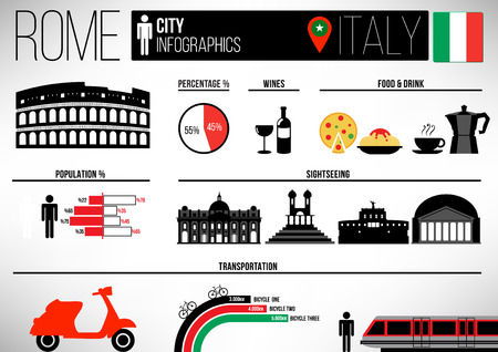 Rome City Infographic Design Template 向量圖像