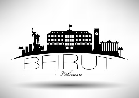 beirut lebanon: Beirut Skyline with Typographic Design