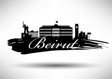 Beirut Skyline with Typographic Design