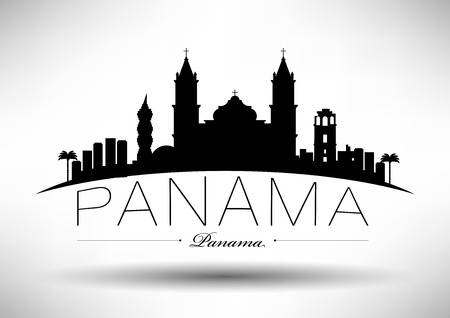 Panama Skyline with Typographic Design