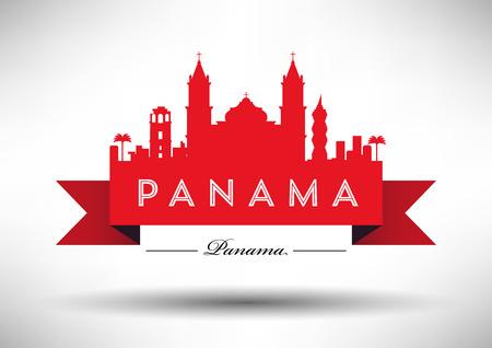 Panama Skyline avec conception typographique Banque d'images - 32938600