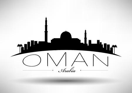 dome type: Oman Skyline with Typographic Design Illustration