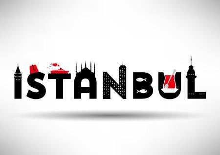 istanbul: Istanbul Typographic Design with Symbols of Istanbul Illustration