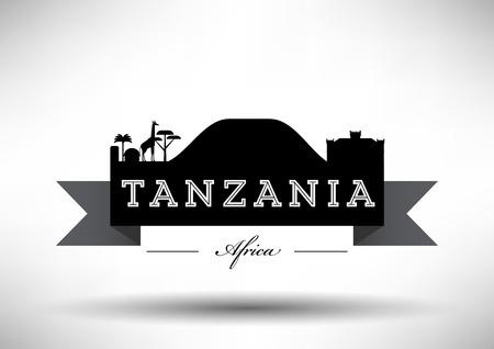 serengeti: Tanzania Skyline with Typography Design Illustration
