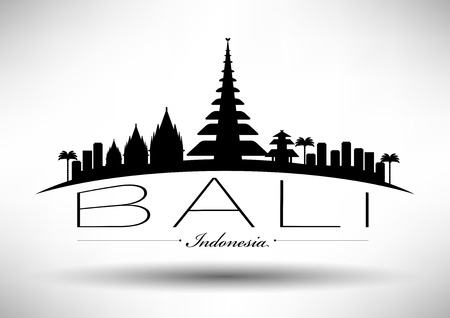 Bali Skyline met Ontwerp van de Typografie Stock Illustratie