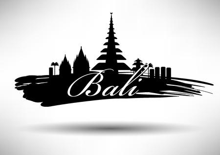 tempels: Bali Skyline met Ontwerp van de Typografie Stock Illustratie