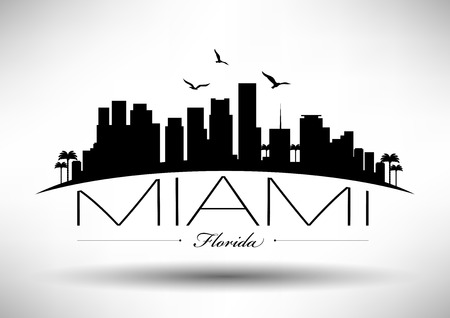 skyline city: Miami Skyline with Typography Design Illustration