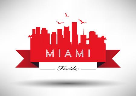 miami: Miami Skyline with Typography Design Illustration