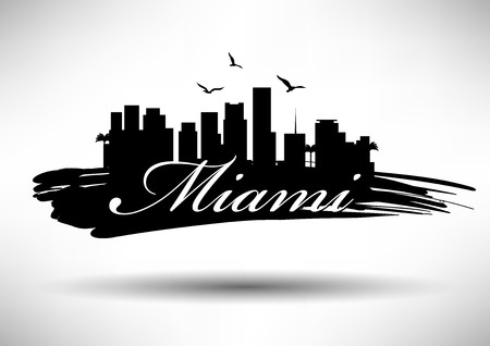 Miami Skyline with Typography Design  イラスト・ベクター素材