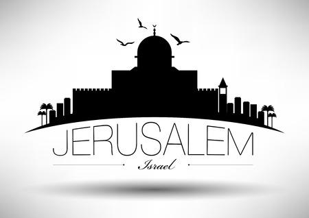 Jerusalem Skyline with Typography Design  イラスト・ベクター素材