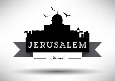 jeruzalem: De Horizon van Jeruzalem met Ontwerp van de Typografie Stock Illustratie
