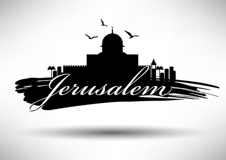 israel jerusalem: Jerusalem Skyline with Typography Design Illustration