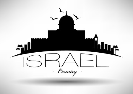 Israel Skyline with Typography Design Vetores