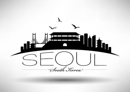 Seoul Skyline met Ontwerp van de Typografie Stock Illustratie