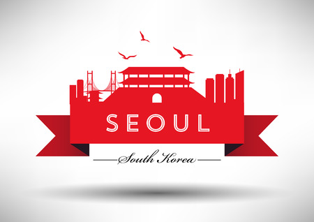 far east: Seoul Skyline with Typography Design