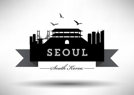 seoul: Seoul Skyline with Typography Design