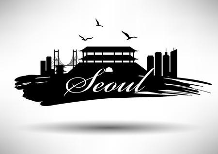 seoul: S�oul Skyline avec Conception de typographie