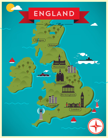 Map of England Illustration Vector