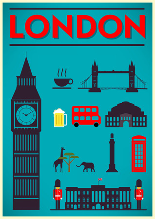 thames: London City Poster Design with Symbols of the London
