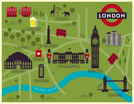 london tower bridge: London City Map Illustration Illustration