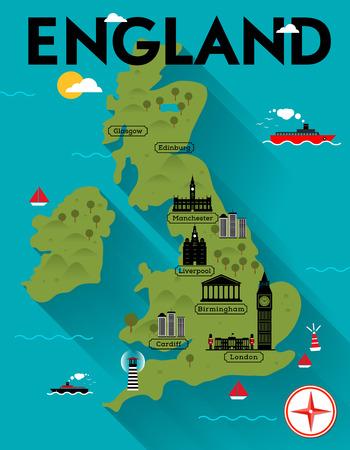 Kaart van Engeland Illustratie