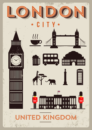 buckingham palace: London City Poster Design with Symbols of the London