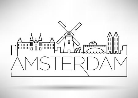 Amsterdam City Line Silhouet Typografische Vormgeving