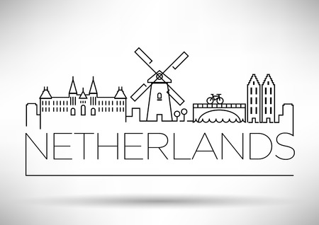Netherlands City Line Silhouette Typographic Design Vettoriali