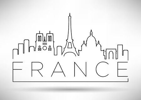 France Line Silhouette Typographic Design Illustration