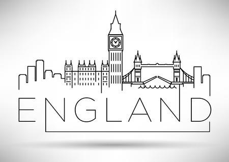 England Line Silhouette Typographic Design Illustration