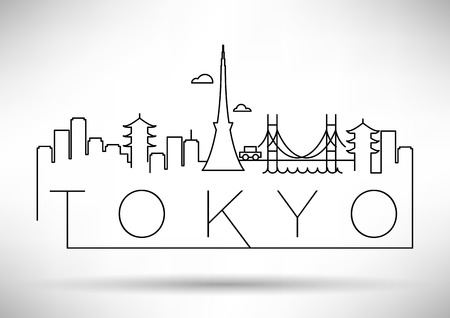 Tokyo City Line Silhouette Typographic Design Illusztráció