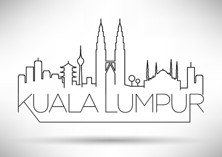twin tower: Kuala Lumpur City Line Silhouette Typographic Design